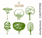 trees sketch set  hand drawing...   Shutterstock .eps vector #1182959908
