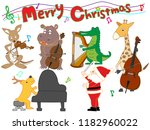 christmas concert at the zoo.... | Shutterstock .eps vector #1182960022