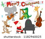 christmas concert at the zoo.... | Shutterstock .eps vector #1182960025