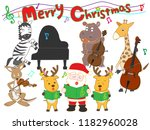 christmas concert at the zoo.... | Shutterstock .eps vector #1182960028
