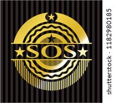 sos gold badge or emblem | Shutterstock .eps vector #1182980185