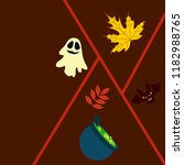 halloween autumn fallen leaves... | Shutterstock .eps vector #1182988765