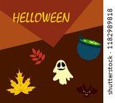 halloween autumn fallen leaves... | Shutterstock .eps vector #1182989818