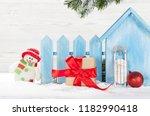christmas snowman  sledge toys  ... | Shutterstock . vector #1182990418