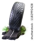 sports car tire on the road ... | Shutterstock . vector #1182992428