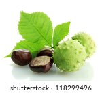 Chestnuts With Leaves  Isolate...