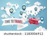paper art of red plane above... | Shutterstock .eps vector #1183006912