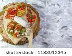 appetizers table with italian... | Shutterstock . vector #1183012345