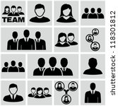 office people icons set