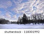 Park In Winter. Frozen Pond....