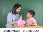 asia boy and his mother with... | Shutterstock . vector #1183020655