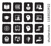 knowledge icons. grunge black... | Shutterstock .eps vector #1183023922
