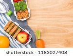 healthy food. lunch box on the... | Shutterstock . vector #1183027408