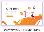 go to travel  a young girl and... | Shutterstock .eps vector #1183031392