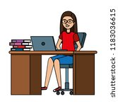 young woman at desk with laptop ... | Shutterstock .eps vector #1183036615