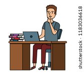 young man at desk with laptop... | Shutterstock .eps vector #1183036618