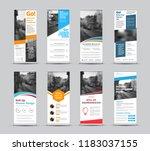 set of vector white roll up... | Shutterstock .eps vector #1183037155