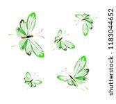 beautiful green butterflies ...   Shutterstock . vector #1183044652