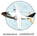 stock illustration. small plane ... | Shutterstock .eps vector #1183050145