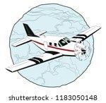 stock illustration. small plane ... | Shutterstock .eps vector #1183050148