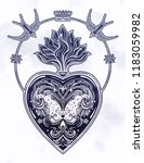 ornate decorative heart with... | Shutterstock .eps vector #1183059982