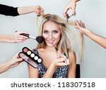make up woman with many hands.... | Shutterstock . vector #118307518