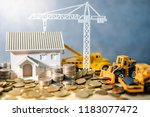 house  crane and construction... | Shutterstock . vector #1183077472