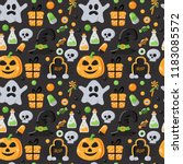 seamless pattern with halloween ... | Shutterstock .eps vector #1183085572