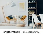 pouf and table in front of... | Shutterstock . vector #1183087042
