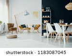 chairs at dining table in white ... | Shutterstock . vector #1183087045