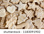 clazed decorating gingerbread... | Shutterstock . vector #1183091902