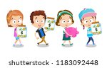 group of kids holding glass... | Shutterstock .eps vector #1183092448