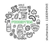 probiotics bacteria  food and... | Shutterstock .eps vector #1183094545