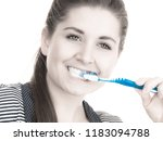 woman brushing cleaning teeth... | Shutterstock . vector #1183094788