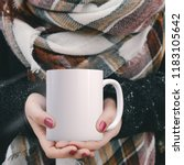 Small photo of Winter mug mock-up. White blank coffee mug to add custom design or quote. Perfect for businesses selling mugs, just overlay your quote or design on to the image.