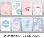 set of baby shower card on... | Shutterstock .eps vector #1183109698