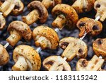 barbecue skewers with delicious ... | Shutterstock . vector #1183115242