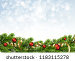 christmas green pine branches... | Shutterstock .eps vector #1183115278