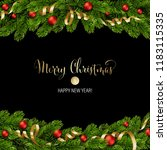 christmas green pine branches... | Shutterstock .eps vector #1183115335