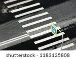 zebra pedestrian crossing sign... | Shutterstock . vector #1183125808