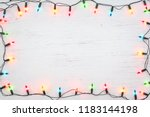 christmas lights bulb frame... | Shutterstock . vector #1183144198