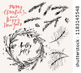 hand drawn ink christmas and... | Shutterstock .eps vector #1183145548