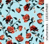 Seamless Rose Pattern With...