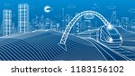 train under the bridge. modern...   Shutterstock .eps vector #1183156102