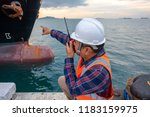 harbor master supervisor is...   Shutterstock . vector #1183159975