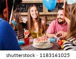 brunette long hair girl sitting ... | Shutterstock . vector #1183161025