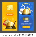 hotel reception service banner... | Shutterstock .eps vector #1183163122