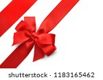 red ribbons with bow on white... | Shutterstock . vector #1183165462
