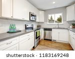 white and gray kitchen room... | Shutterstock . vector #1183169248