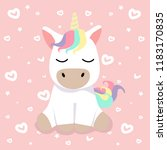 cute cartoon nice unicorn vector | Shutterstock .eps vector #1183170835
